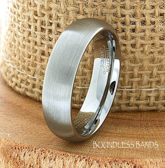 Tungsten Wedding Ring Dome Shaped Brushed Mens by BoundlessBands