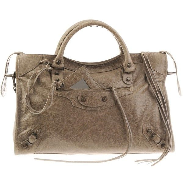 Balenciaga Taupe City Classic Bag ($1,345) ❤ liked on Polyvore featuring bags, handbags, purses, bolsos, accessories, women, hand bags, balenciaga purse, man bag and brown purse