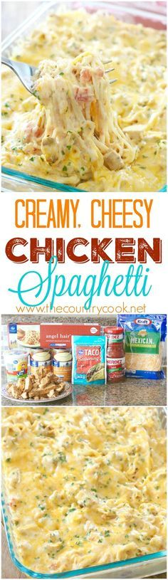 Creamy, Cheesy Chicken Spaghetti recipe from The Country Cook. The *BEST* Chicken spaghetti I have ever made. There is no other recipe like this one on the internet! It's an original that is a new family favorite!