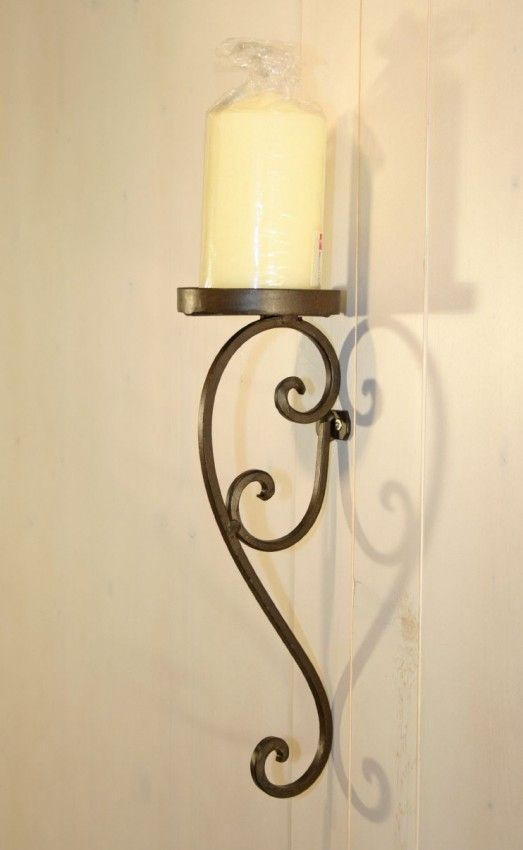 Wandkerzenhalter MASCALI Kerzenhalter zur Wandmontage, Eisen antik braun