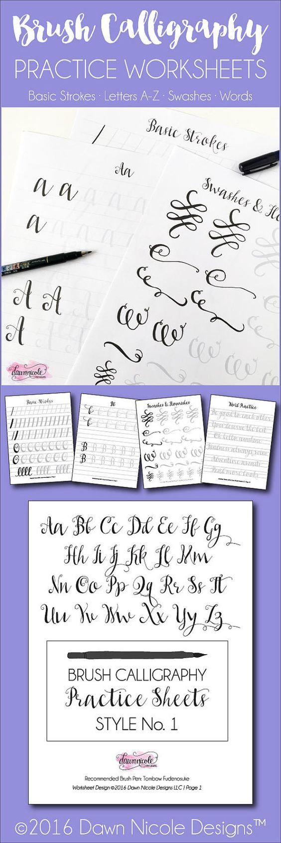 Brush Calligraphy Practice Worksheets: Style 1 by ByDawnNicole