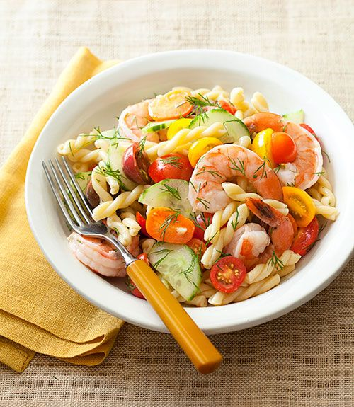 Dill, mustard, and capers are just a few of the flavors that spice up this easy to make pasta salad.