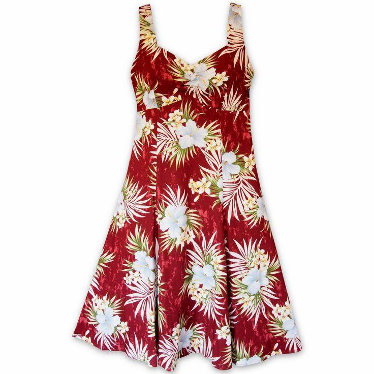 Hibiscus Isles Red Molokini Hawaiian Dress  #hawaiian #madeinhawaii