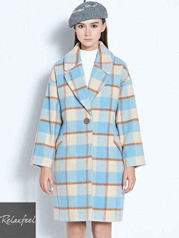 Relaxfeel Women's Plaid Lapel Long Sleeve long Woolen Coat - New In