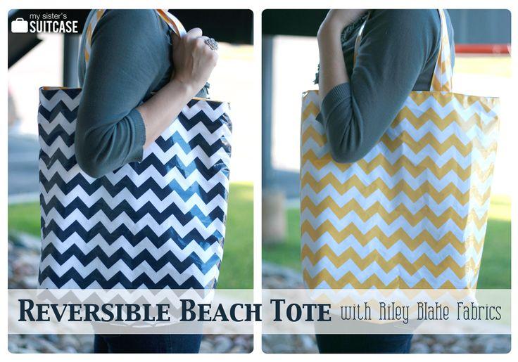 My Sister's Suitcase: DIY Reversible Beach Tote Tutorial