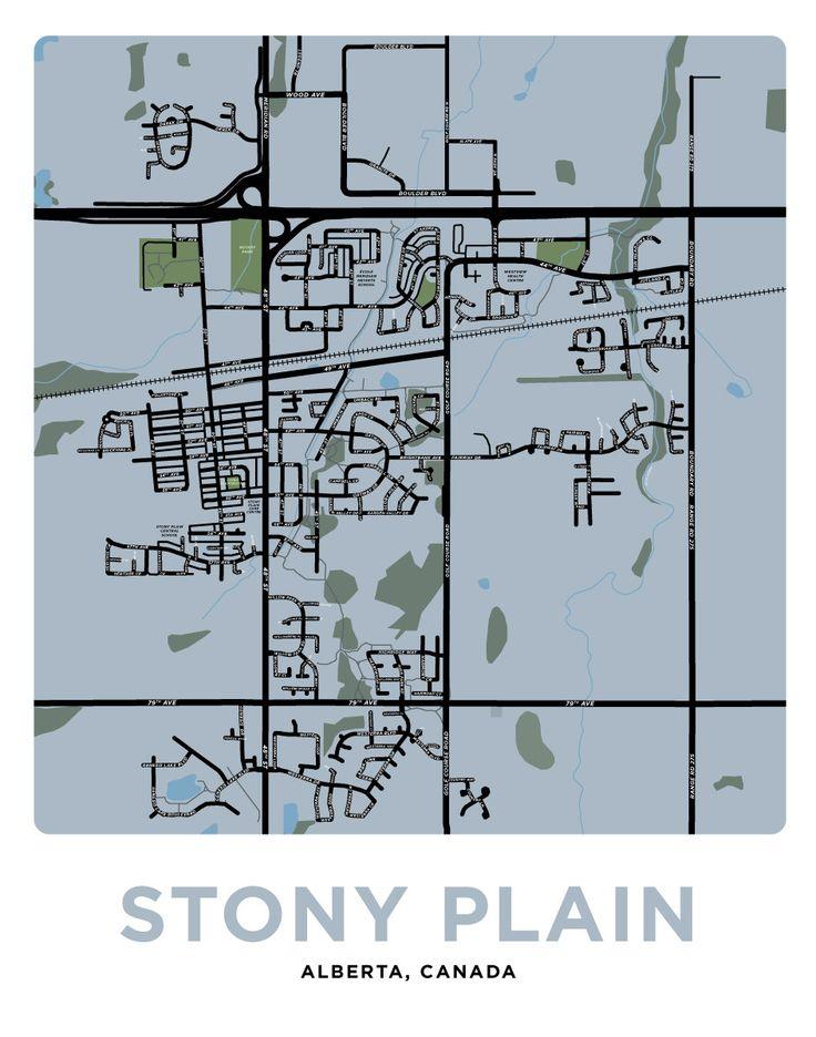 Stony Plain Alberta - Map Print