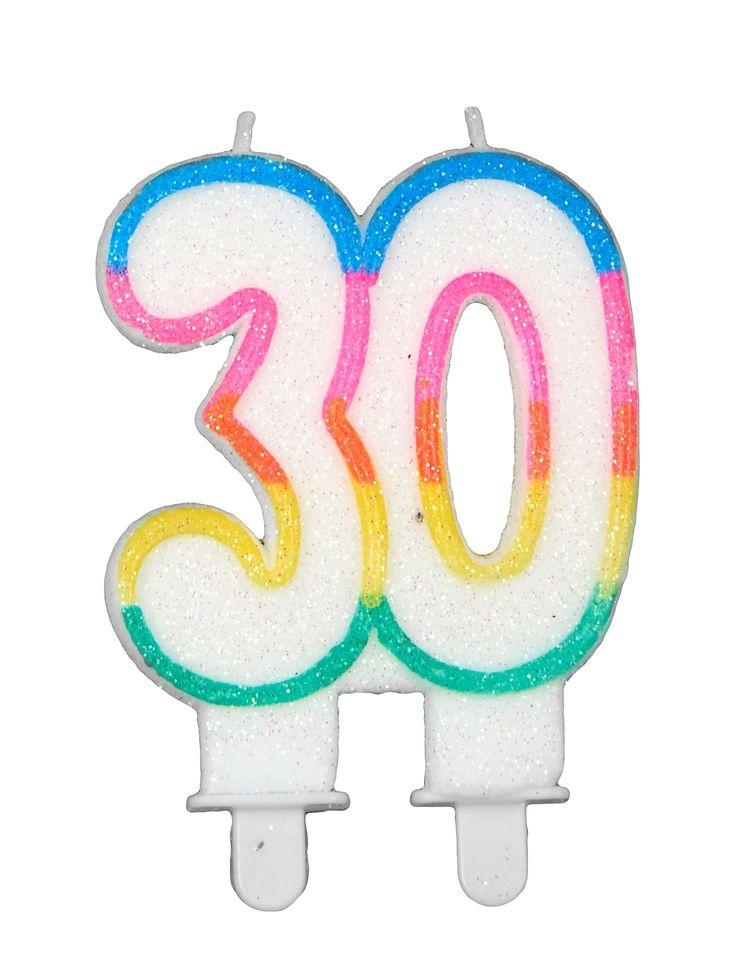 Vela de cumpleaños 30: Esta vela de cumpleaños representa el número 30.Es blanca con purpurina y contorno multicolor.Mide alrededor de 8,5x6 cm.Esta vela completará la decoración de tartas de...