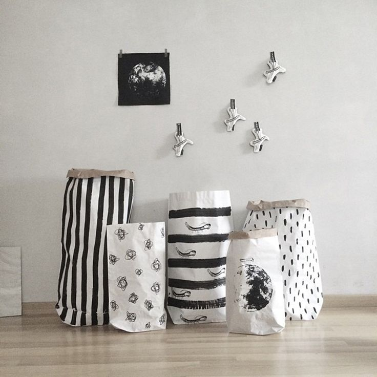 Storage . Reusable Monochrome Paper Sack - Size / Print Options from £6