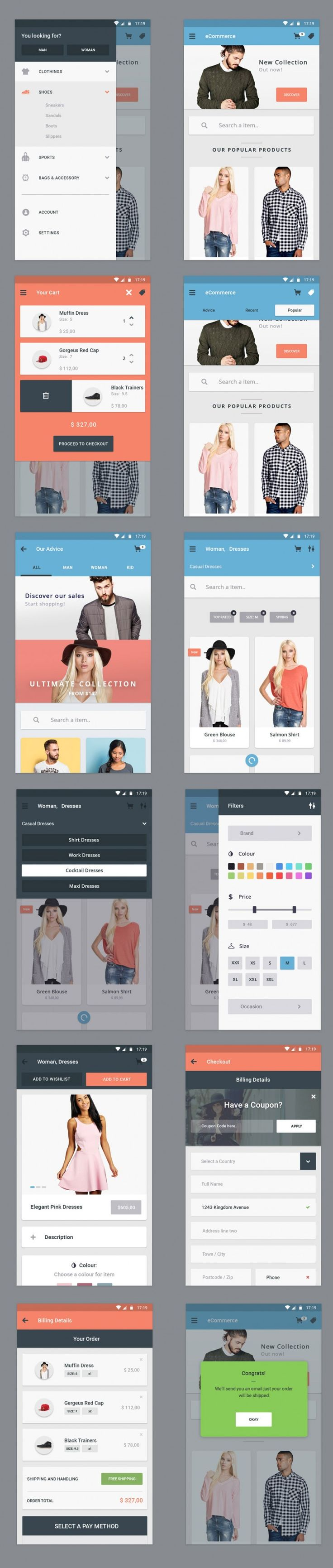 Free Ecommerce App UI Designs on