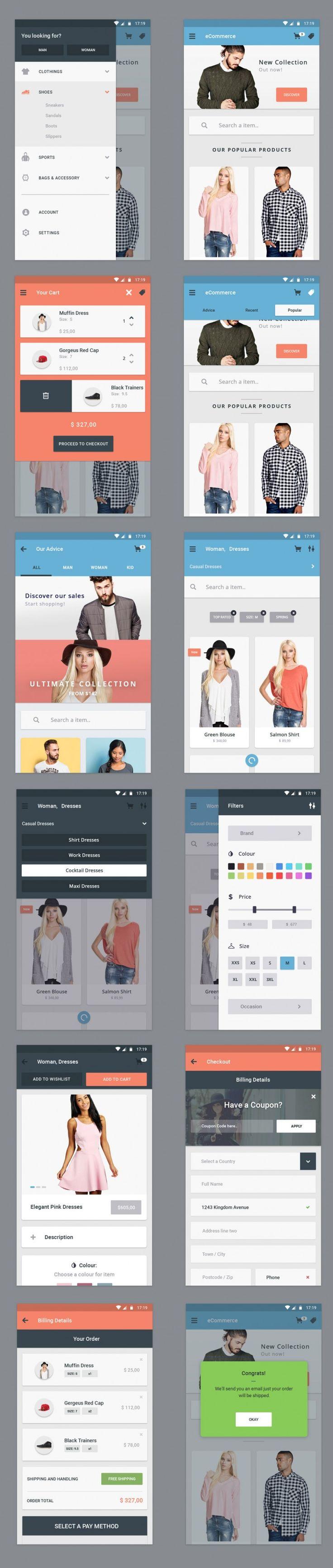 Free Ecommerce App UI Designs
