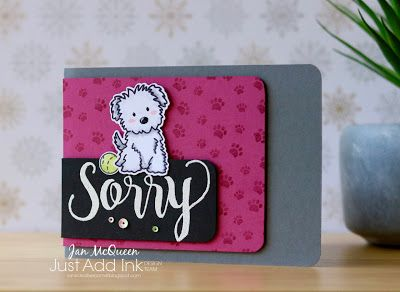 Pet Sympathy card featuring Avery Elle's Furry Friends and Stampin Up's Sorry for Everything for JAI #396 by Jan McQueen. More info @ www.janscreativecorner.blogspot.com