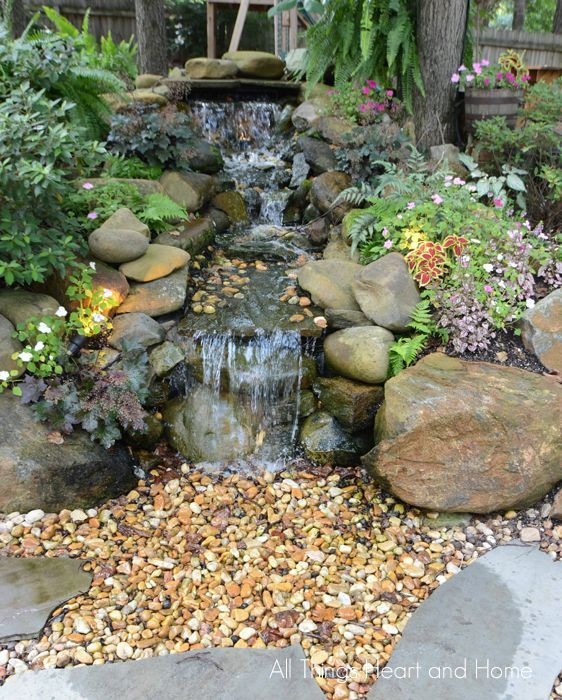 Creating A Back Yard Garden All Things Heart And Home Water Features In The Garden Waterfalls Backyard Ponds Backyard