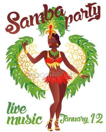 Скачать - Бразильская самба танцор вектор. Красивый карнавал девушка в костюме фестиваля костюм танцы — стоковая иллюстрация #135784370