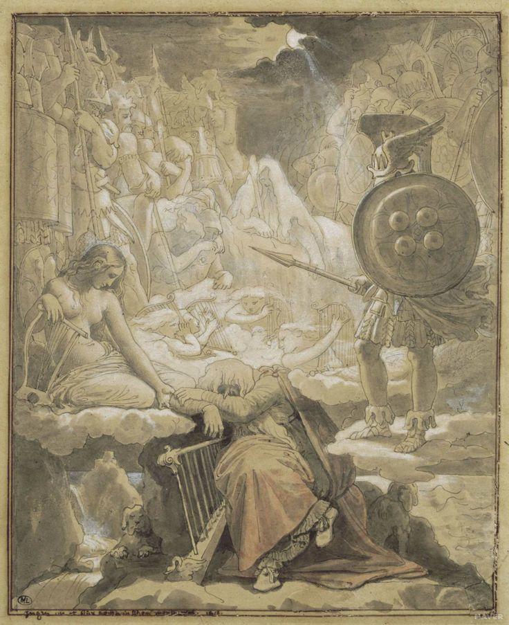 //// 앵그르 <오시안의 꿈> -19세기 경 제작, 신고전주의 //// 북구 전설 속의 영웅 오시안의 노래를 주제로 한 이 그림은 나폴레옹의 침실 천장화로서 주문제작되었다. 정의로운 용사 핀갈의 아들인 오시안은 결혼을 하면 본래의 아름다운 모습으로 되돌아갈 수 있다고 하는 돼지처럼 못생긴 추녀와 결혼했다. 그녀는 정말로 아름다운 여인이 되었고, 믿음과 용기에 대한 대가로 그는 젊음의 나라인 티르 나 노그를 300년 동안 다스린다. 어느 날 고향에 가보고 싶던 그는 절대로 땅을 밟아서는 안 된다는 아내의 경고를 듣고 길을 떠난다. 하지만 그가 말에서 미끄러져 떨어지자, 타고 간 마법의 말은 죽어버리고 자신도 순식간에 눈먼 노인이 되어버렸다. 그가 다스리던 마법의 왕국은 이제는 꿈에서나 볼 수 있는, 다시는 돌아갈 수 없는 곳이 되었다. (댓글에서 계속)