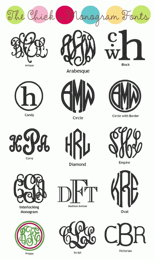Need to make a new monogram for myself, and maybe a family one as well. - http://1.bp.blogspot.com/-VSSYppy8eQ0/TkVSAeQ-_qI/AAAAAAAAEw8/472l40YUqGw/s1600/MonogramChickMonogramFonts.gif