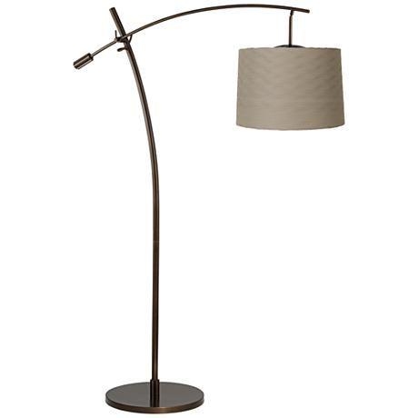 Tara Wave Pleat Shade Balance Arm Arc Floor Lamp ...