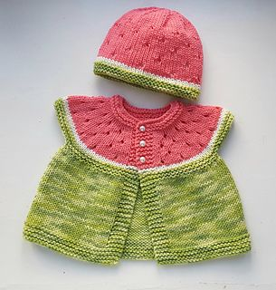 Cute little baby hat designed especially to match Stitchylinda's Watermelon Baby Cardigan