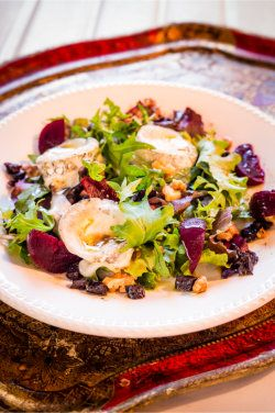 Jennifer Irvine's Warm Goat's Cheese, Beetroot, Walnut and California Prune Salad