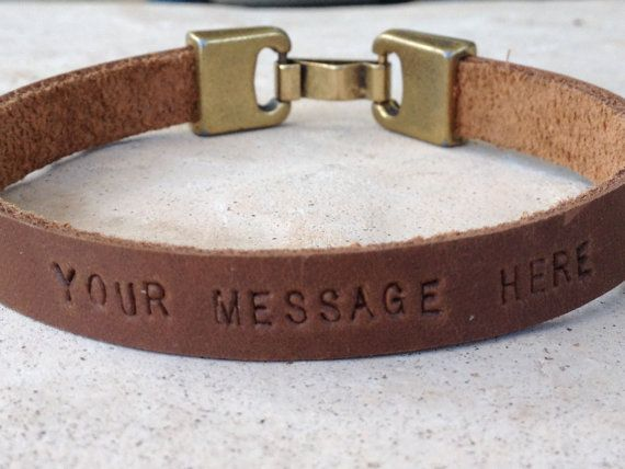 FREE SHIPPING-Mens Leather Bracelet,Men Engraved Bracelet,Men Personalized Braceelet,Engraved Leather Bracelet,Hand Engraved Bracelets on Etsy, $26.00