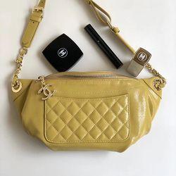 3e3a97c67655 Chanel Crumpled Lambskin Waist Bag Yellow A57832 | Chanel in 2019 ...