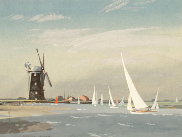 Rowland Hilder (British, 1905-1993) Sailing boats at Cley Mill, Norfolk