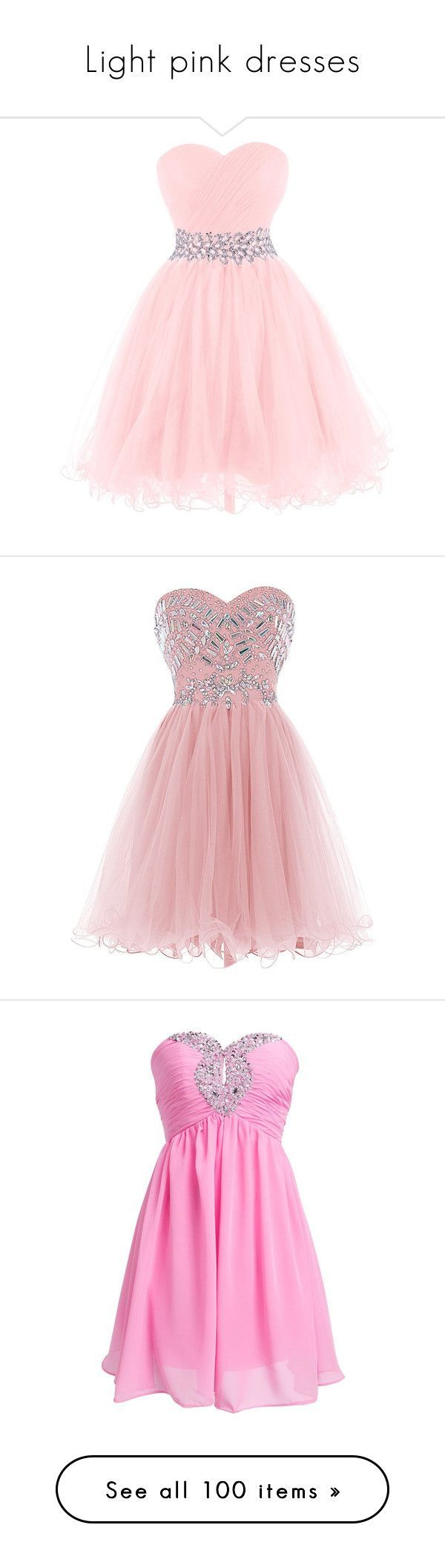 """Light pink dresses"" by megsjessd99 ❤ liked on Polyvore featuring dresses, gowns, gown, pink, homecoming dresses, prom dresses, beaded evening gowns, pink dress, prom gowns and short dresses"