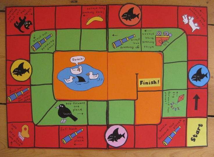 Shark in the Park Storysack - gameboard - making photo manual - Myatt Garden Primary School Storysack Library - I made this game for the Shark in the Park storysack. I used brightly coloured paper, cut and glued to two base pieces of A4 paper. The pictures were drawn on white paper, coloured with pens, cut out and glued on. The Shark game counters were done in the same way, then laminated. The two A4 boards were laminated and taped down the back so that it would fold neatly in the storysack.
