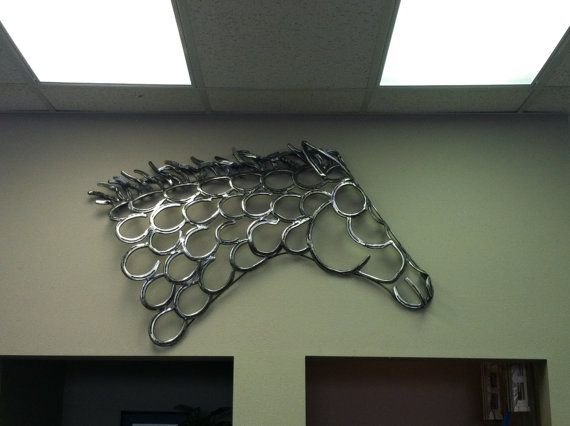 Horseshoe Art Mustang Head profile by openrangedesignsart on Etsy, $2500.00