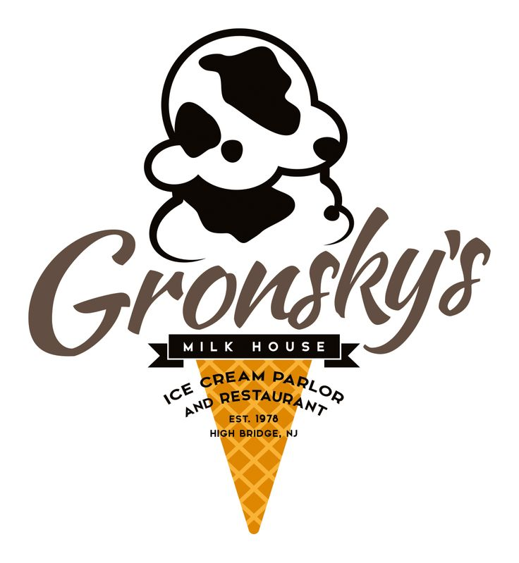 Gronsky's Milk House. New logo for an established ice cream parlour and restaurant based in New Jersey, USA.