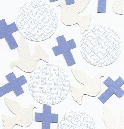 Communion Table Decorations  Personalized Dove & Cross for Boys SetToCelebrate