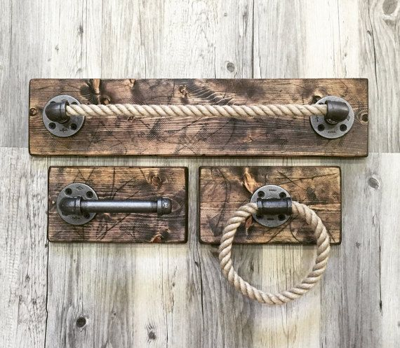 Nautical/Industrial/Nautical Handmade Bathroom by Lulight on Etsy