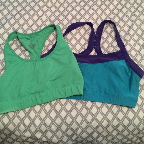 Blue & Green Sports Bras Bundle of two sports bras one is old navy brand and the other is Avia. Both  are mediums :) Intimates & Sleepwear