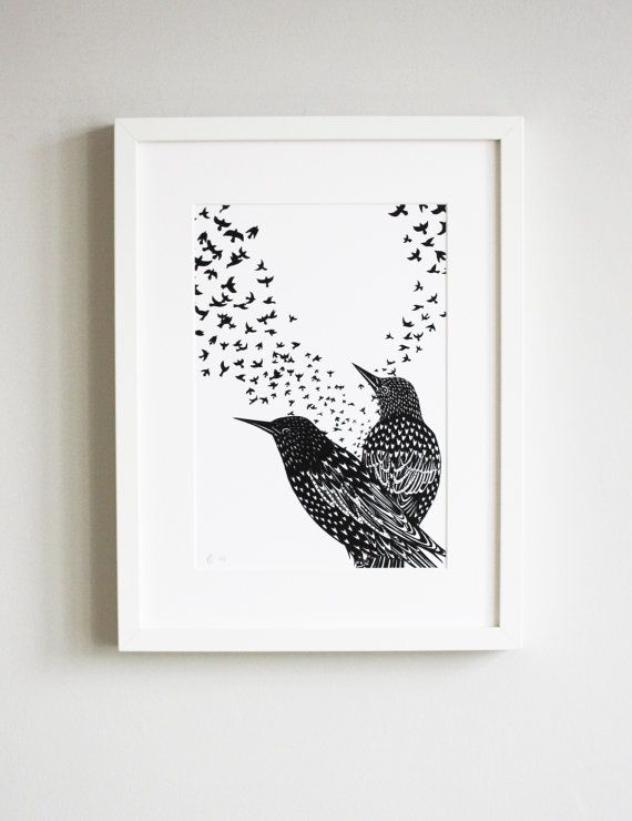 Starlings screen print, hand printed birds, limited edition print