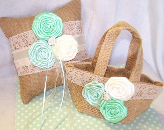 Burlap Ring Pillow and Flower Girl Basket Mint Green by itsmyday, $58.00