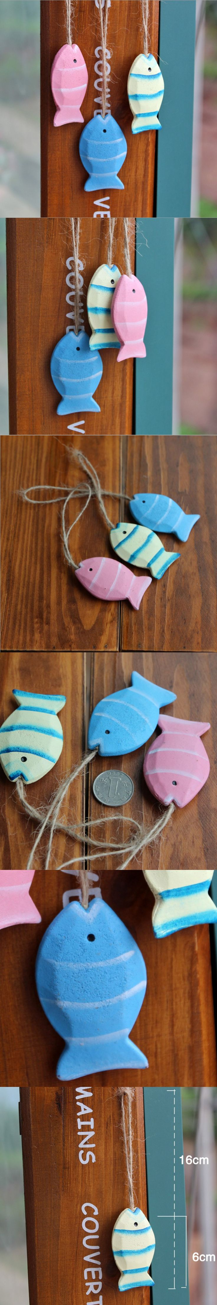 Mediterranean Style Wood Fish Hanging Ornament Zakka Kids Rooms Wall Decoration Vintage Home Decor Wooden Craft 2Pcs/Lot GY015 $14.8