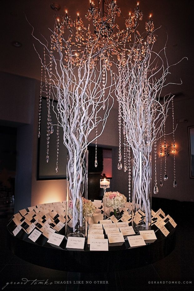 Crystal wedding centerpieces branches and