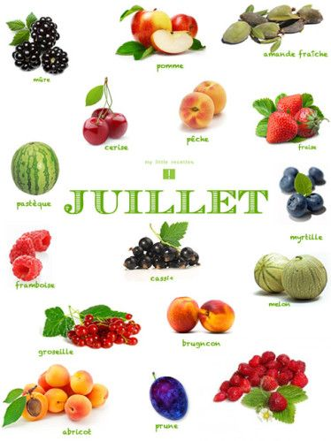 Produits de saison, juillet, fruits - My Little Recettes