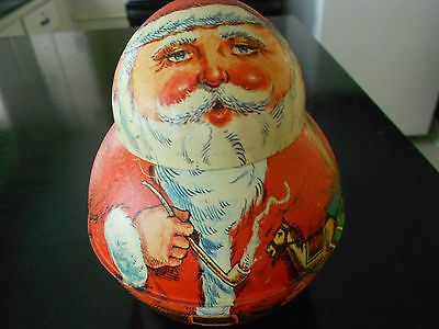 VINTAGE CHEIN OLD WORLD VICTORIAN ROLY POLY SANTA CLAUS CHRISTMAS TIN