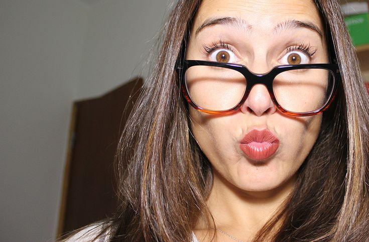 wearing glasses