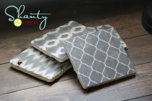 DIY coasters...You print off artwork/designs, mod podge it design-side down, bake it, and rub the paper off. It looks stamped!