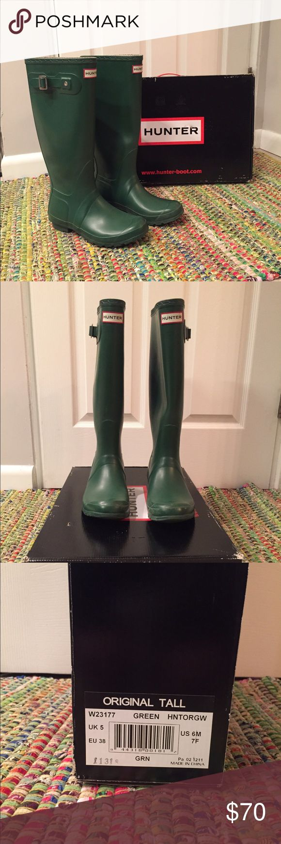 Women's Hunter Boots Size 7 Tall Green Hunter Boots. Size 7. Worn but still in good condition! There is a small scuff on the inside as pictured Hunter Boots Shoes Winter & Rain Boots