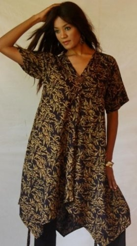 GOLD DRESS MINI TUNIC TOP BUTTON BATIK TIES A-LINE « Dress Adds Everyday