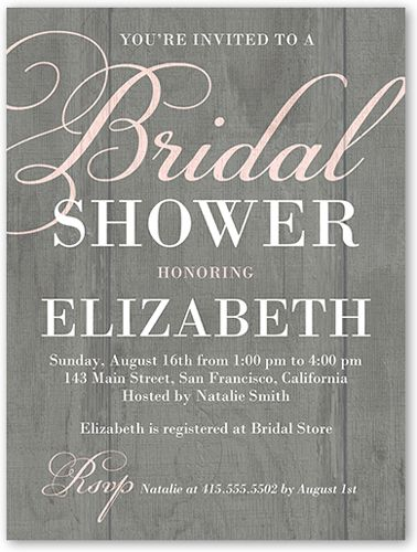 Rustic Shower 4x5 Stationery Card by Yours Truly | Shutterfly 20% off till Wed. Mar. 4th. Free shipping on orders of $39+ Code: SHIP39. 50 invites for $1.19ea