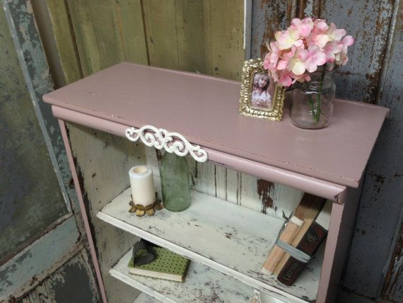 pink shabby chic bookshelf painted distressed furniture antique bookcase country cottage. Black Bedroom Furniture Sets. Home Design Ideas