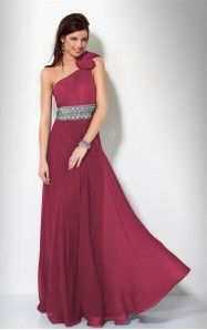 A-line Floor-length One Shoulder Fuchsia Dress