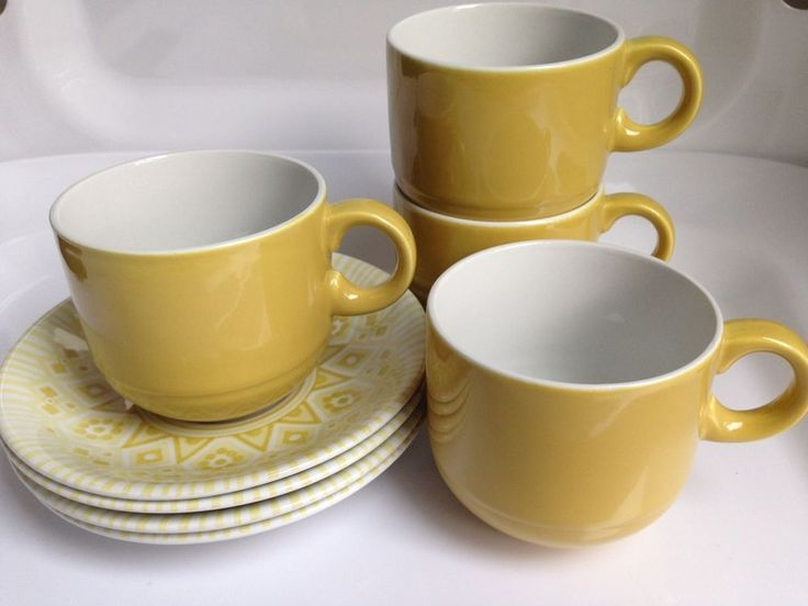 Vintage Set of 4 Cups & Saucers, Inca Gold Pattern, Alfred Meakin, England