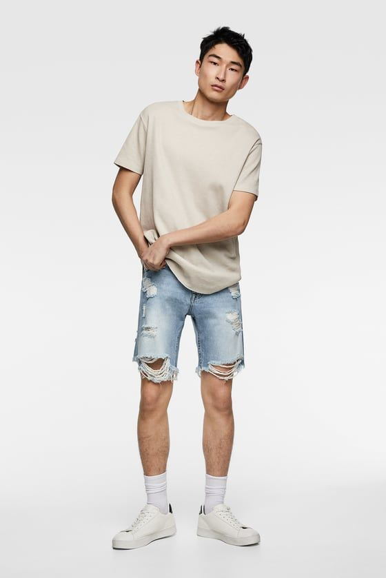 57804a1e BERMUDA DENIM ROTOS   Men's fashion in 2019   Ripped denim, Zara ...