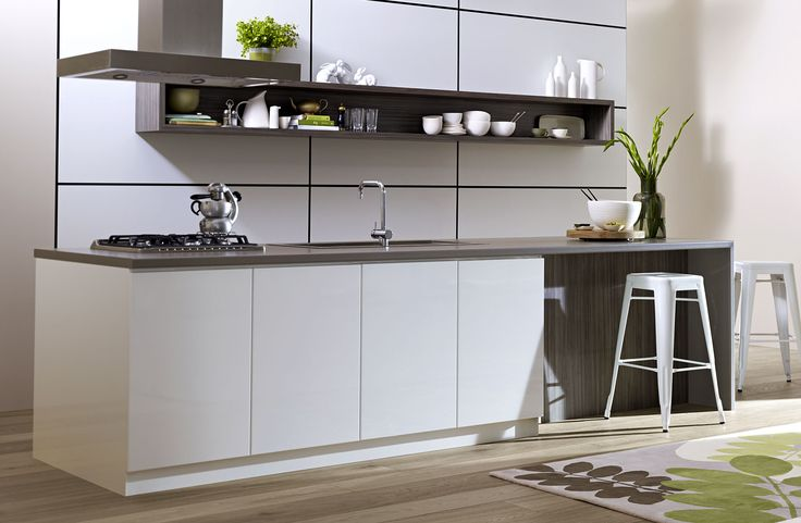 Glossy white cupboards with some timber grain features.