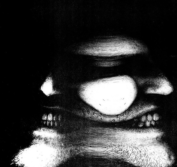 Image created by turning head on photocopier while scanner bar passed