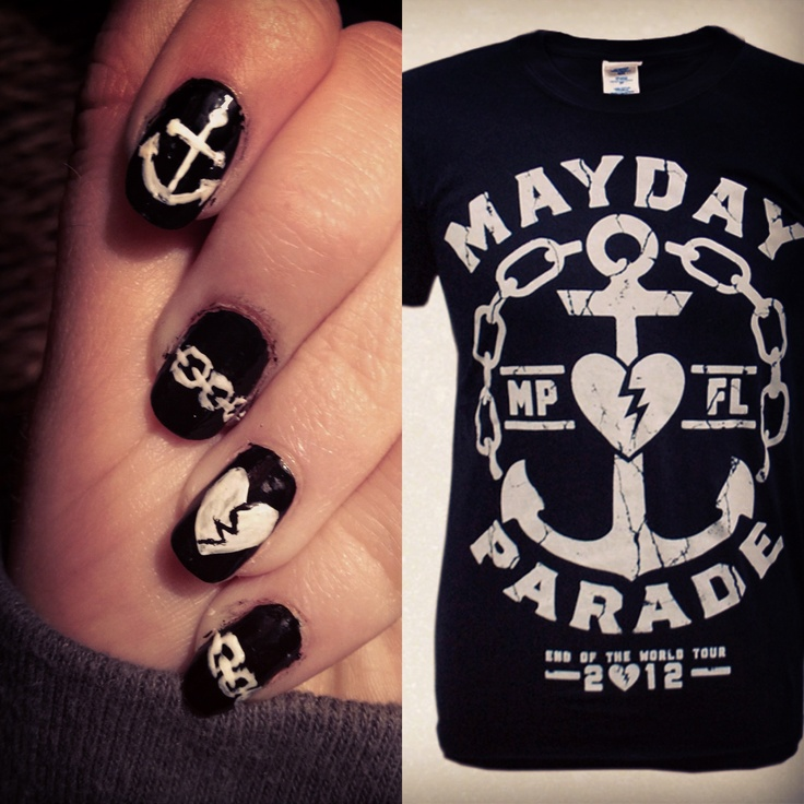 Nails I painted inspired by my favorite Mayday Parade tee!